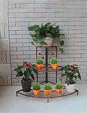 LQCHUAJIA Blumenständer Blumentreppe European-style Mehrzweck-Eisen-kreativer Metallblumen-Zahnstange Anzeige Pflanzentreppe ( Farbe : Messing , größe : 75*25*85cm )