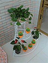 LQCHUAJIA Blumenständer Blumentreppe European-style Mehrzweck-Eisen-kreativer Metallblumen-Zahnstange Anzeige Pflanzentreppe ( Farbe : Weiß , größe : 75*25*85cm )