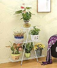 LQCHUAJIA Blumenständer Blumentreppe European - Style Six - Story Eisen Blumentopf Regal Pflanze Stand Wohnzimmer Balkon Töpfe Regal Blumenregal Anzeige Pflanzentreppe ( Farbe : Weiß , größe : A )