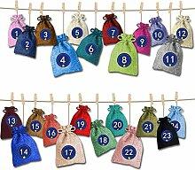 LQQ 24 Adventskalender zum Befüllen, Stoffbeutel