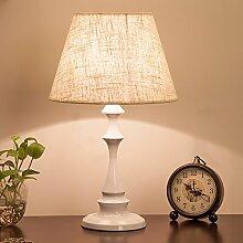LQQGXL Tischlampe Schlafzimmer Bett nordische amerikanische Wohnzimmer Lampe moderne einfache Mode Einfache Lampe ( Farbe : Weiß-30cm )