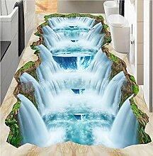 Lqwx 3D-Küche Bodenbelag Benutzerdefinierte Wasserfälle Kunststoff Bodenbeläge Cliff Tal Fällt Selbstklebende Wasserdichtem Pvc-Bodenbeläge 250 Cmx 175 Cm