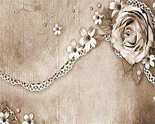 Lqwx 3D Wallpaper Home Dekoration Wohnzimmer Benutzerdefinierte Große Wallpaper 3D Rose Spitze Fototapete Für Wände 3D Beibehang-120Cmx100Cm