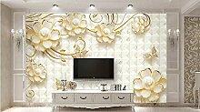 Lqwx 3D Wandbild Tapete Gold Blume Schmuck Luxus Custom Hintergrundbild Für Badezimmer Wohnzimmer Foto Wandmalereien 200 Cmx 140 Cm