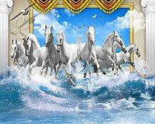 Lqwx Benutzerdefiniertes Papier Für Wandplakate Römischen Pole White Horse Pentium Blue Sky Spray Wave Fototapete Papel De Parede 3D Wallpaper-300Cmx210Cm