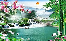 Lqwx Chinesische Tapete 3D Wasserfall Landschaft Wallpaper Für Wände Schöne Mode Wallpaper Home Decor 430Cmx300Cm