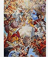 Lqwx Custom 3D Vliestapeten Maria Und Jesus War Der Zenit Dekoration Deckengemälde 350 Cmx 245 Cm Gekrön