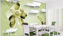 Lqwx Custom 3D Wallpaper Grüne Blume, Tapete Wohnzimmer Foto 3D Stereoscopic 3D Wallpaper 400 Cmx 280 Cm