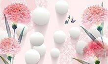 Lqwx Custom 3D Wallpaper Pink Handbemalten Blumen Tapete Wohnzimmer Foto 3D Stereoscopic 3D Wallpaper 250 Cmx 175 Cm