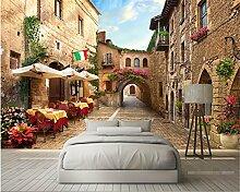 Lqwx Custom 3D Wallpaper Tv Sofa Hintergrundbild Europäischen Street View 3D Fototapete Home Dekoration 3D Wallpaper 250 Cmx 175 Cm