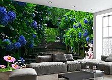 Lqwx Custom 3D Wandbilder Tapeten Für Wohnzimmer Vliestapeten Flower Vine Blue Rose Weg 3D Fototapete Papel De Parede 3D 120 Cmx 100 Cm