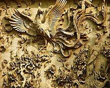 LqwxCustom Classic hd-Seide wallpaper stereo Holzschnitzerei Zimmer Schlafzimmer Dekoration Malerei 3d Wallpaper 250 cmX 175 cm
