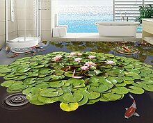 Lqwx Dekoration Home 3D Bodenbeläge Wandgemälde Lotus Teich Wallpaper 3D Wallpaper, Wasserdicht Selbstklebendes Vinyl Bodenbelag 350 Cmx 245 Cm