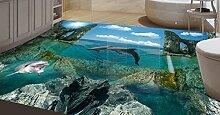 Lqwx Dekoration Home 3D, Dolphin, Wandbilder Kunststoff Küche Fliesen Wasserfest Selbstklebend 3D Boden Pvc 250 Cmx 175 Cm