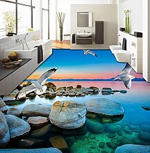 Lqwx Dekoration Home 3D Stock Strand Stein Seagull Stock Vinyl Fliesen Wasserfest Selbstklebend 3D Boden Pvc 200 Cmx 140 Cm