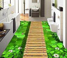 Lqwx Dekoration Home Tapete Stock Custom 3D Stock Lotus Holz Brige Wasserfest Selbstklebend 3D Photo Stock 300Cmx210Cm