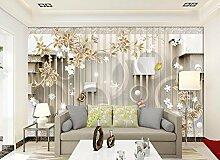 Lqwx Europäische Mode Backstein Tapete Flower Und Kreis Hintergrundbilder Für Wohnzimmer Schlafzimmer 3D Fototapete 250 Cmx 175 Cm