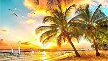 Lqwx Foto Wandbild Tapeten Für Wohnzimmer Beach View Tv-Wand Anpassen Stereoskopischen 3D-Tapete Vlies 250 Cmx 175 Cm