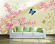 LqwxGeeignet für Dekoration Seidentuch wallpaper einfache HD-pfirsich Schmetterling TV Wand papel de Parede-200cmX 140cm