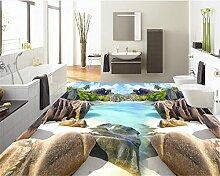 LqwxGeeignet für Home Innenlackierung wallpaper Strand Stein selbstklebende Wasserdicht 3d-Bodenbeläge malen Papel de Parede-250cmX175 cm