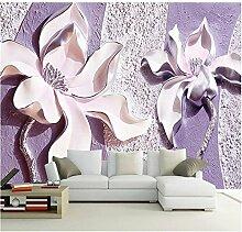 LqwxHochwertige Seide relief Magnolia Schlafzimmer TV Hintergrundbild home Dekoration Wohnzimmer papel de Parede-400 cmX280 cm