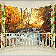 Lqwx Hohe fresco Wand mit Tapete Balkon mit Herbst Wald Landschaft im 3D-Hintergrund Wandtapeten tapeten Home Decor-350 cmX 245 cm