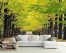 LqwxMaler Home Dekoration Malerei ginkgo Baum boulevard Wohnzimmer TV-Wand papel de parede Wallpaper für Wände tapety-200cmX 140cm