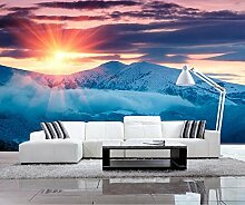 Lqwx Moderne Dekoration 3D Wandbild Tapeten Snowy Sonnenuntergang Wandbild Soft Hintergrund Natur Wallpaper Für Wände 3D 200 Cmx 140 Cm