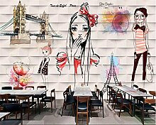 Lqwx Neue Dekoration Malerei 3d Wallpaper graffiti Handgemalten Aquarell Schönheit Hintergrundbild tapety-400 cmX280 cm