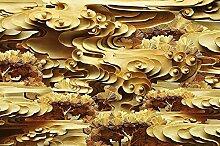 Lqwx Neuen Stil Holzschnitzereien 3D Wandbild Tapete Gold Wolken Baum Vlies - Tapete Wandbilder Für Wohnzimmer Schlafzimmer Hintergrund 250 Cmx 175 Cm