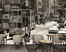 LqwxPapel de parede Home Dekoration Gemälde retro alte Straßen alte Bilder fernsehen Wohnzimmer Hintergrundbild-120cmX100cm