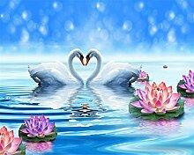 Lqwx Papel De Parede Wallpaper Für Wände 3D Moderne Dekoration 3D Wallpaper Lotus Swan Blue Swan Lake Tv Wandmalerei-400 Cmx280 Cm