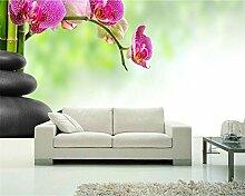 Lqwx Passen Sie Die Größe An Der Wand Papier Auf Stein Und Bambus Auf Der Orchidee Foto Tapete Mit Moderner Dekoration Wallpaper 250 Cmx 175 Cm