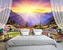 Lqwx Schöne Bunte Balkon Mit Bergblick Schlafzimmer Tapeten Natur Landschaft Wallpaper Foto 3D Wandbilder Für Sofa Desktop Wallpaper 350 Cmx 245 Cm