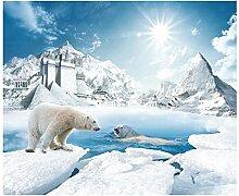 LqwxSchöne moderne Tapete Eis und Schnee fernsehen Wandmalereien papel de parede Tapeten Tapete für Wände 3d-430 cmX 300cm