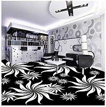 Lqwx Stock Wallpaper 3d für Bäder Selbstklebend 3D Boden PVC wasserdicht, Schwarz und Weiß künstlerische Muster-300cmX210cm