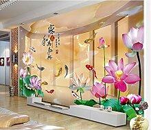 Lqwx Tapete Individuelle Tapeten Für Wände Stereoskopischen 3D-Lotus Karpfen Wallpaper Tv-Kulisse Papel De Parede 3D 300Cmx210Cm