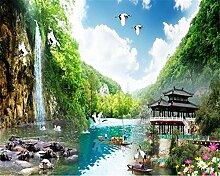 Lqwx Tapete Natürliche Landschaft Wasserfall Pavillon Egret Lotus Home Dekoration 3D Wallpaper Korridor Dekorative Malerei-250Cmx175 Cm