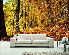 LqwxWallpaper benutzerdefinierte Größe mit Blättern der Mountain Road Anfang Herbst Wald 3d Wandbilder papel de Parede-350 cmX 245 cm abgedeck