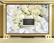 Lqwx Wallpaper Custom Made Große 3D-Tapete Weißer Seide Rose Foto Wandbild Tapete Hintergrund Wand Tapeten Für Wände 3D-350 Cmx 245 Cm