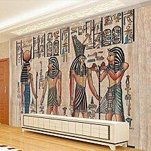 Lqwx Wallpaper Für Wände 3D-Ägyptischen Custom Wallpaper Wandbild Aus Lackiertem Holz Wohnzimmer Tv-Kulisse Fototapete Wandmalereien-350 Cmx 245 Cm