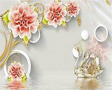 LqwxWallpaper stereo Jade geschnitzte Rose swan Hintergrund wand Dekoration Malerei papel de parede Wallpaper für Wände-430 cmX 300cm