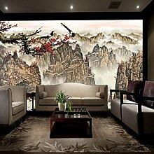 Lqwx Wandbild Tapeten Dekoration Bergwelt Blumen Und Vögel Wohnzimmer Tv Hintergrund Wallpaperr 3D Wall 250 Cmx 175 Cm