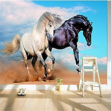 LqwxWasserdichte Classic 3d Wallpaper dreidimensionale Mode zwei Pferde fliegen Wasser wallpaper Kunst Dekoration Hintergrund-200 cmX 140cm