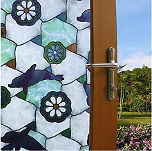 LQZ Privatsphäre Fensterfolie Sichtschutzfolie Bunt Vintage Pinguin UV Sonnenschutz innen Blickdicht Sichtschutz Badezimmer 45 x 200 cm