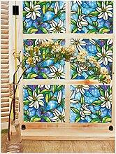 LQZ Privatsphäre Fensterfolie Sichtschutzfolie Bunt Vintage Floral UV Sonnenschutz innen Blickdicht Sichtschutz Badezimmer 45 x 200 cm