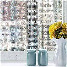 LQZ Privatsphäre Fensterfolie Sichtschutzfolie Milchglas Karo Mosaik Bunt UV Sonnenschutz innen Blickdicht Sichtschutz Badezimmer 45 cm