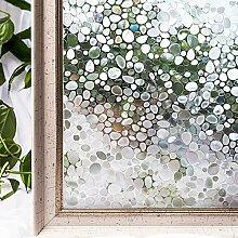 LQZ Privatsphäre Fensterfolie Sichtschutzfolie Milchglas Stein Bunt UV Sonnenschutz innen Blickdicht Sichtschutz Badezimmer 60 cm