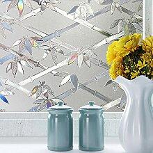 LQZ XL Privatsphäre Fensterfolie Sichtschutzfolie Milchglas Bambus Blumen Bunt UV Sonnenschutz innen Blickdicht Sichtschutz Badezimmer 60 cm
