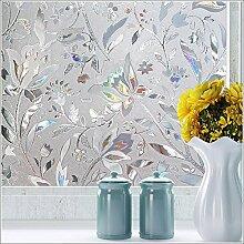 LQZ XL Privatsphäre Fensterfolie Sichtschutzfolie Milchglas Blumen Bunt UV Sonnenschutz innen Blickdicht Sichtschutz Badezimmer 60 cm